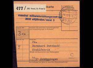 Varel Altjürden n. Schöppingen Paketkarte (b975