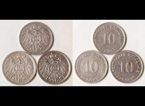 10 Pfg. Kaiserreich EMPIRE 1912 A,D,J, Jäger 13 (702