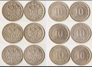 10 Pfg. Kaiserreich EMPIRE 1908 alle 6 Buchst.Jäger 13 (680