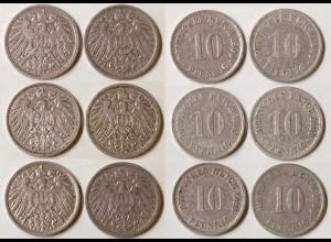 10 Pfg. Kaiserreich EMPIRE 1900 alle 6 Buchst.Jäger 13 (683