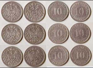 10 Pfg. Kaiserreich EMPIRE 1899 alle 6 Buchst.Jäger 13 (685