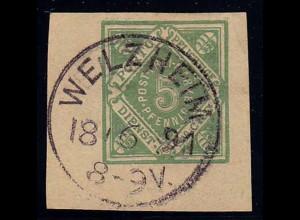 Welzheim klarer EK-Stempel 1891 auf GS-Ausschnitt (b315