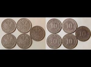 10 Pfg. Kaiserreich EMPIRE 1898 A,D,E,F,J, Jäger 13 (687