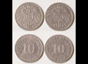 10 Pfg. Kaiserreich EMPIRE 1890 G + J, Jäger 13 (688