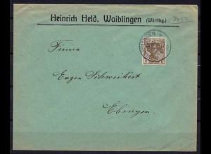 Waiblingen Brief nach Ebingen Württemberg Reklame Held (b318
