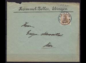 Ebingen Württemberg Ortsbrief 1905 Reklame (b319