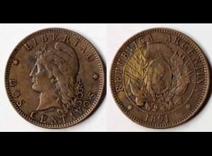 Argentinien - Argentina 10 Centavos Münze 1891 (p427