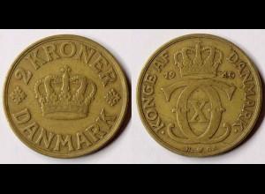 Dänemark - Denmark 2 Kronor Münze 1940 Christian X.1912-1947 (r760