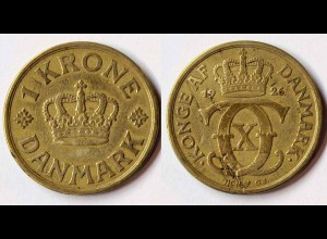 Dänemark - Denmark 1 Kronor Münze 1926 Christian X.1912-1947 (r759
