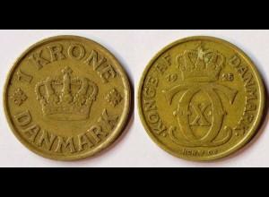 Dänemark - Denmark 1 Kronor Münze 1925 Christian X.1912-1947 (r758