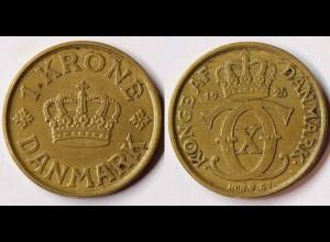 Dänemark - Denmark 1 Kronor Münze 1925 Christian X.1912-1947 (r757