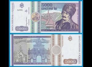 Rumänien - Romania 5000 Lei Banknote 1992 Pick 103 UNC (18641