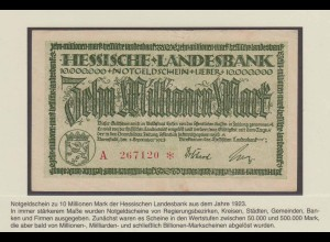 Hessen 10 Millionen Mark Banknote Landesbank 1923 VF (18645