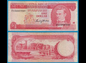 Barbados 1 Dollar Banknote 1973 Pick 29a F/VF (18661