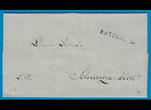 Ratzeburg nach Schwarzenbeck Umschlag ca. 1814 selten (18772