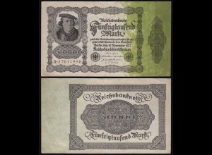 Reichsbanknote - 50.000 50000 Mark 1922 Ros. 79a VF (15428