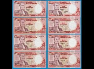 Kolumbien - Colombia 100 Pesos 1984 bis 1991 8 Stück XF Pick 426 (18835