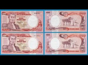 Kolumbien - Colombia 100 Pesos 1986 enge + weite Ziffer UNC Pick 426 (18836