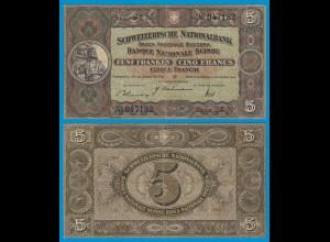 Schweiz - Switzerland 5 Franken Banknote 1942 Pick 11j - gutes VF (18853