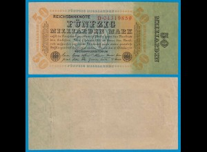 REICHSBANKNOTE 50 Milliarden MARK 1923 Ros. 116a VF = 3 (18896