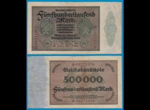 Reichsbanknote - 500000 500.000 Mark 1923 Ros. 87b F/VF (18947