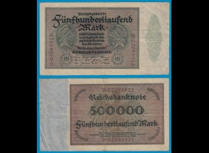 Reichsbanknote - 500000 500.000 Mark 1923 Ros. 87b VF (18948
