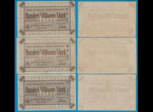 Kreuznach - Notgeld 3 Stück 100 Millionen Mark Serie E, B, H 4 o. 5 stellig
