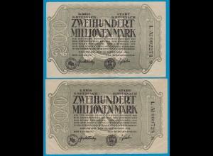 Kreuznach - Notgeld 2 Stück 200 Millionen Mark Serie L 1923 6-stellig star