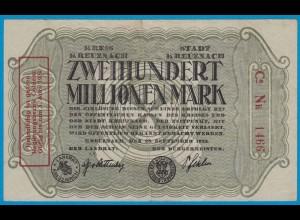 Kreuznach - Notgeld 200 Millionen Mark 1923 4-stellig m.Aufdruck (18954