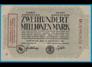 Kreuznach - Notgeld 200 Millionen Mark 1923 6-stellig star m.Aufdruck