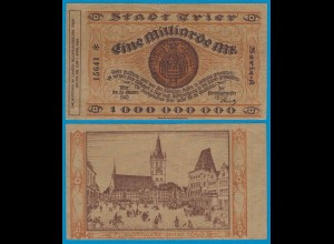 Trier - Notgeld 1-Milliarde Mark 1923 5-stellig star VF Serie A (18969