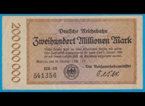 Reichsbahn Berlin 200 Millionen Mark Banknote 1923 VF (19024