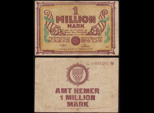 Westfalen - Hemer Amtskasse 1 Million Mark Serie C 1923 Notgeld Starnote(15357
