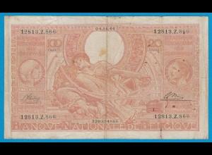 Belgien - Belgium 100 Francs = 20 Belgas 1944 Pick 113 F (19074