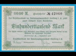 Sachsen - Stollberg 100-tausend Mark 1923 Notgeld XF (19142