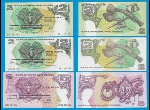 Papua Neuguinea - 2, 2, 5 Kina UNC Pick 5a, 5c, 13a (19165