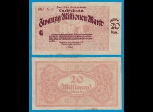 Reichsbahn Karlsruhe - 20 Millionen Mark Banknote 1923 VF (19188