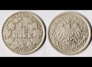 1/2 Mark Kaiserreich EMPIRE 1906 A Silber Jäger Nummer 16 (r1281
