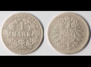 DR Kaiserreich 1 Mark Silber 1875 B gebraucht Jäger 9 (r1276