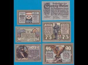 6. Aufl. Österreich - Austria Stadt Schwaz Tirol 10-90 Heller 1921 6 Stück