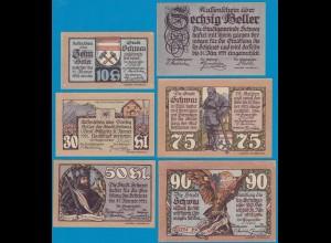 5. Aufl. 6 Stück Österreich - Austria Stadt Schwaz Tirol 10-90 Heller 1921