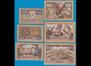 3. Aufl. 6 Stück Österreich - Austria Stadt Schwaz Tirol 10-90 Heller 1921