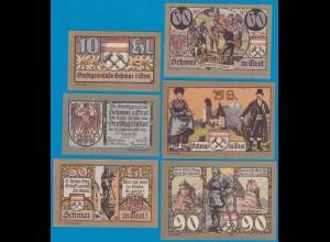 2. Aufl. 6 Stück Österreich - Austria Stadt Schwaz Tirol 10-90 Heller 1921