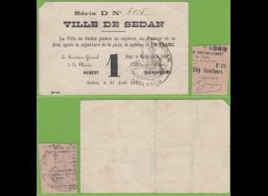 Frankreich - France - 1 Franc Banknote 1915 DE SEDAN (19454