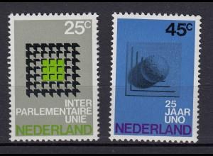 Niederlande Mi. 946-947 postfrisch Interparlamentarische Konferenz 1970 (80075