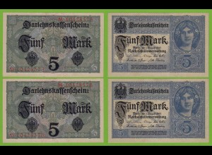 Darlehnskassenschein 5 MARK Nummernpaar 8-stellig 1917 Ros.54 b aUNC (19490