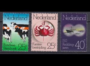 Niederlande - Netherland Mi. 1032-1034** Jahrestage Rindvieh Stammbuch 1974