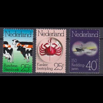 Niederlande Mi. 1032-1034 postfrisch Jahrestage Rindvieh Stammbuch 1974 (80100