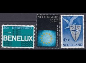 Niederlande Mi. 1035-1037 postfrisch 30 Jahre Zollunion BENELUX 1974 (80101