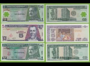 Guatemala - 1, 1, 5 Quetzals Banknoten 1990/2007 UNC (19500